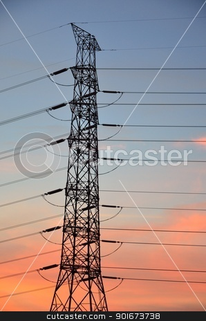 Eletric power post with sunset sky  stock photo, Eletric power post with sunset sky background. by Patipat Rintharasri
