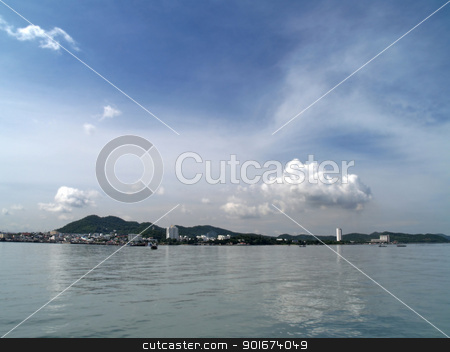 Seaport stock photo, City with ocean and sky in Sriracha, Chonburi, Thailand by Exsodus