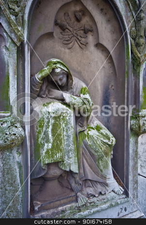 Cemetery stock photo, old statue of a grieving woman on a cemetery by Juliane Jacobs