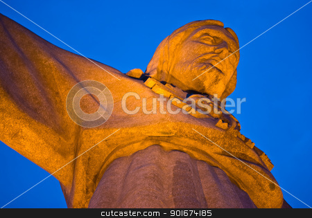 Christo Rei stock photo, detail of the enormous statue of Christ in Lisbon by Juliane Jacobs