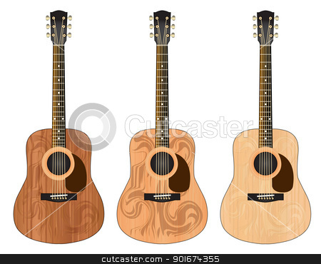 Three guitars with a pattern stock photo, Three classical guitars with a wave pattern by o2lga
