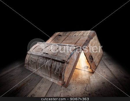 Pandora box stock photo, Upturned and opened an old wooden box with glowing light from inside... by Sinisa Botas