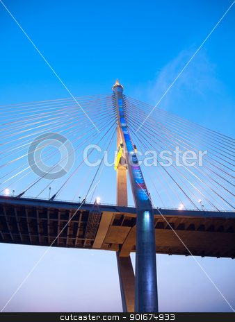 Part of Bhumibol Bridge stock photo, Bhumibol Bridge also casually call as Industrial Ring Road Bridge illuminate with spotlight and twilight sky, Samut Prakarn,Thailand by Exsodus