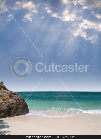 Summer paradise view  stock photo, Summer paradise view with beautiful beach, emerald color sea and rays from heaven by Exsodus