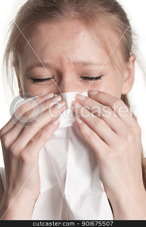 Pale Woman Sneezing stock photo, Pale sick woman with a flu, sneezing, in a white background by ruigsantos