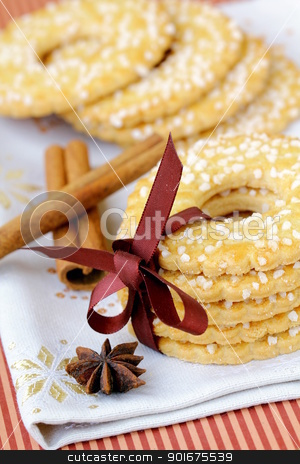 Sugar round cookies with spices  stock photo, Sugar round cookies with spices  by Olga Kriger
