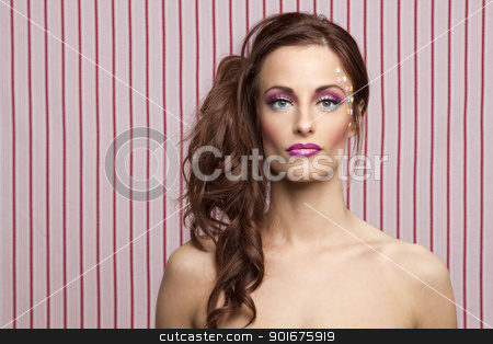 Candy doll stock photo, Young woman with colorful makeup and star