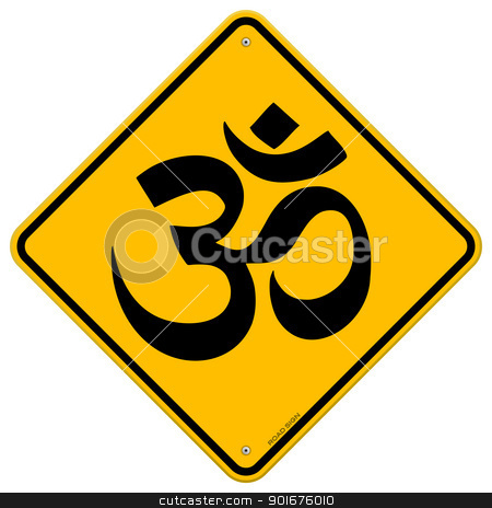 Om Yellow Sign stock vector clipart, Classic Road Sign with hinduism symbol on yellow background by Vitezslav Valka