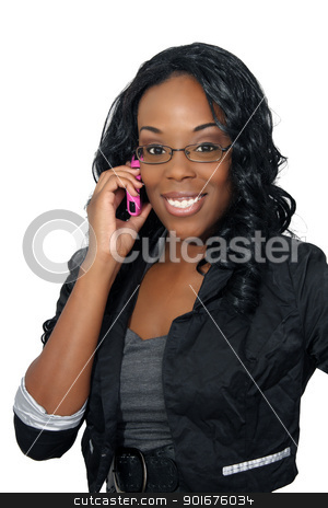 Beautiful Woman with Cell Phone (2) stock photo, A lovely young black businesswoman with her pink cellular phone.  Isolated on a white background. by Carl Stewart