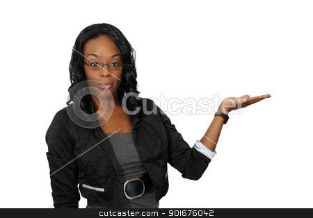Beautiful Hostess, Closeup (3) stock photo, A close-up of a lovely young black hostess, pointing toward frame right.  Place your graphic easily into her flat palm.  Isolated on a white background with generous copyspace. by Carl Stewart