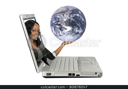 Beautiful Hostess on a Laptop Screen (3) stock photo, A lovely young black hostess reaches out of a laptop computer screen, holding the earth.  Isolated on a white background with generous copyspace. by Carl Stewart