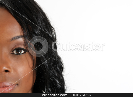 Beautiful Black Woman, Headshot (37) stock photo, A partial close-up of an extraordinarily beautiful young black woman with amazingly captivating eyes.  Generous copyspace to frame right. by Carl Stewart