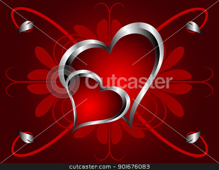 A vector valentines background stock vector clipart, A vector valentines background with silver hearts on a deep red  backdrop  by Mike Price