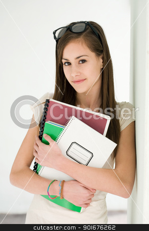 Fashionable young brunette student. stock photo, Portrait of a beautiful fashionable young brunette student girl. by exvivo