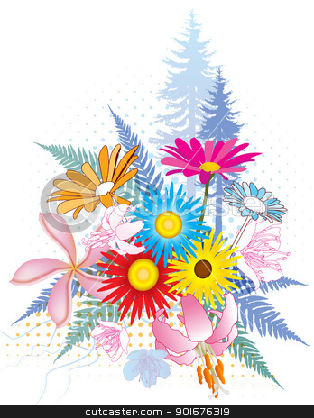 Natural Flower Collage stock vector clipart, Natural collage illustrations with lots of colorful flowers, ferns and trees by Liviu Peicu
