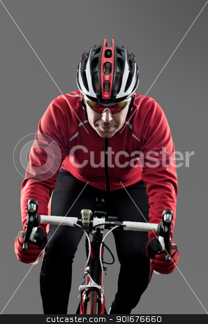 Cyclist stock photo, Cyclist on road bike on grey background. by Homydesign