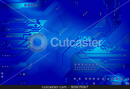vector printed circuit in blue stock vector clipart, Image of the printed circuit - motherboard - technology abstract by Siloto