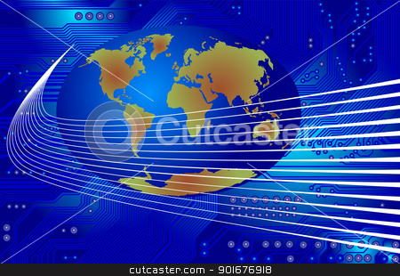 global communication - vector stock vector clipart, Image of the printed circuit - motherboard - technology abstract - vector by Siloto