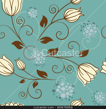 seamless pattern stock vector clipart, seamless pattern with flowers on a blue background by Miroslava Hlavacova