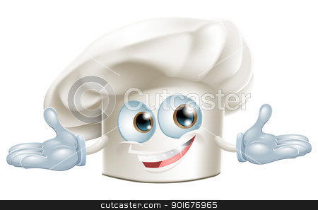 Happy white chefs hat cartoon man stock vector clipart, Happy white chef's hat cartoon man smiling by Christos Georghiou