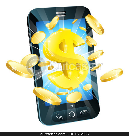 Dollar money phone concept stock vector clipart, Dollar money phone concept illustration of mobile cell phone with gold dollar and coins by Christos Georghiou