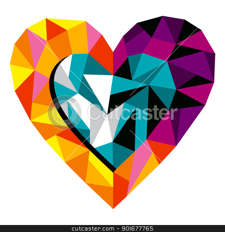 Origami Love Heart stock vector clipart, Origami Love Heart for greeting card. Vector file available. by Cienpies Design