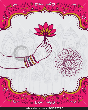 India lotus flower and woman hand background stock vector clipart, Indian woman hand  holding a lotus flower over white and pink background. Vector file available. by Cienpies Design
