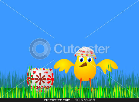 Easter egg and chicken - vector stock vector clipart, Illustration of the Easter egg and chicken - vector by Siloto