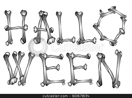 Halloween text stock vector clipart, Illustration - text from various bones - vector by Siloto