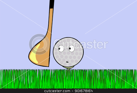 frightened golf ball stock vector clipart, Cartoon illustration - frightened golf ball awaiting stroke by Siloto