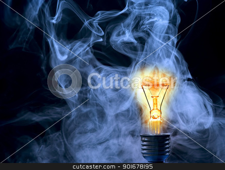 persistence of vision stock photo, Detail of the burned bulb by Siloto