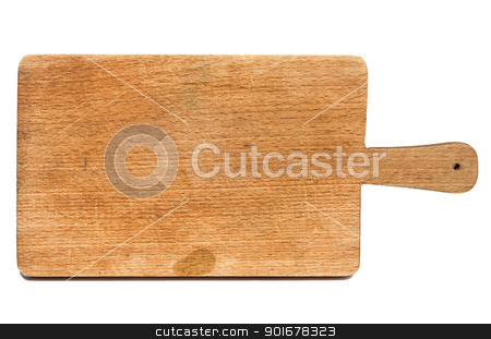 Used chopping board stock photo, Old heavily used chopping or cutting board on white background by borojoint