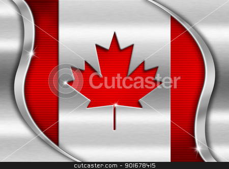 Canada Metal Flag stock photo, Red and metal background national canadian metal flag  by catalby