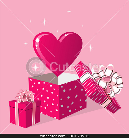 Love gift in box greeting card stock vector clipart, Happy day greeting card. Surprise heart love in gift box over pink background. Vector file available. by Cienpies Design