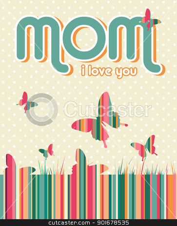 Happy Mothers Day background stock vector clipart, I love you mummy written on beige background with white dots and butterflies.