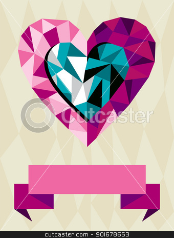 Origami Heart Love stock vector clipart, Happy day greeting card. Origami heart love with ribbon background. Vector file available. by Cienpies Design