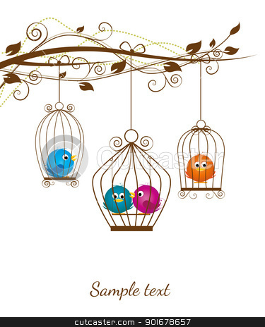 birds  stock vector clipart, colorful birds in a cage on a white background by Miroslava Hlavacova