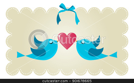 Twitter love couple birds stock vector clipart, Two twitter birds fall in love holding a red heart background. Vector file available. by Cienpies Design