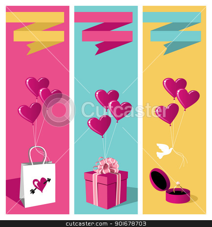 Lovers day banner set stock vector clipart, Happy lovers day greeting card background sale set. Vector file available. by Cienpies Design