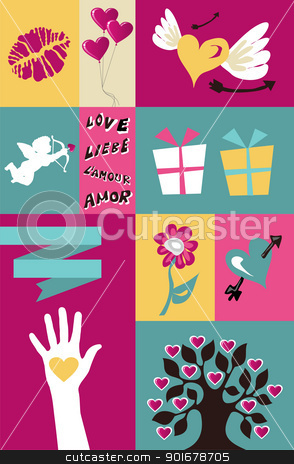Valentines set background stock vector clipart, Happy lovers day greeting element set background. Vector file available. by Cienpies Design