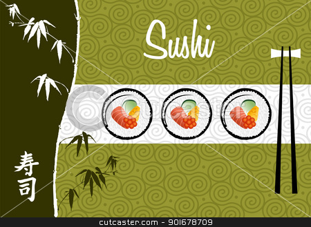  Sushi banner illustration background stock vector clipart, Handwritten Sushi banner over white and green background illustration. Vector file layered for easy manipulation and custom coloring. by Cienpies Design