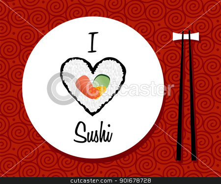 I love sushi restaurant background stock vector clipart, I love sushi handwritten in white dish over red background. Vector file layered for easy manipulation and custom coloring. by Cienpies Design
