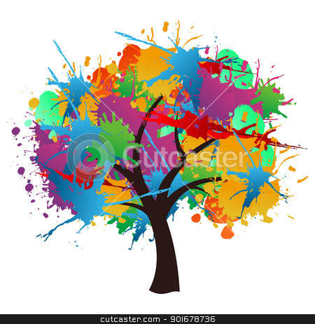 Isolated paint splash spring tree stock vector clipart, Isolated abstract paint splash spring time tree. Vector file layered for easy manipulation and custom coloring. by Cienpies Design