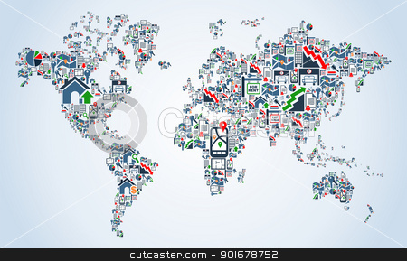 Property service icons World map stock vector clipart, Real estate icon set in Earth Globe map shape background illustration. Vector file layered for easy manipulation and custom coloring.   by Cienpies Design