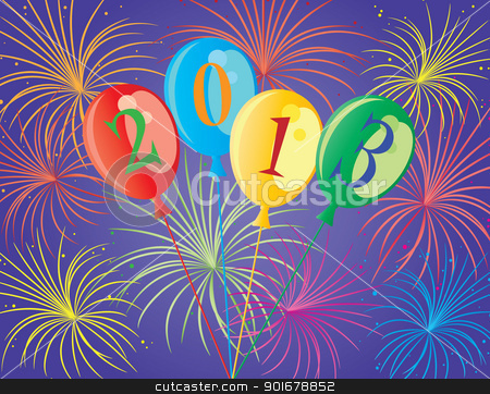 Happy New Year 2013 Balloons Illustration stock vector clipart, Happy New Year 2013 Balloons with Fireworks Background Illustration by Jit Lim