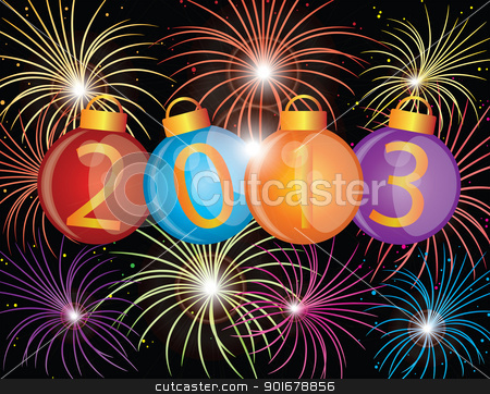 2013 New Year Ornaments and Fireworks Illustration stock photo, 2013 Happy New Year Christmas Ornaments with Fireworks Display Background Illustration by Jit Lim