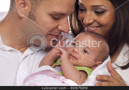 Mixed Race Young Couple with Newborn Baby stock photo, Happy Young Attractive Mixed Race Couple with Newborn Baby. by Andy Dean