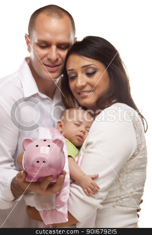 Young Mixed Race Parents with Baby Holding Piggy Bank stock photo, Attractive Young Mixed Race Parents with Baby Holding Piggy Bank on a White Background. by Andy Dean