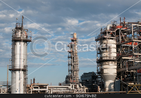 Petrochemical Refinery Plant stock photo, A petrochemical refinery plant with pipes and cooling towers. by Brian Guest