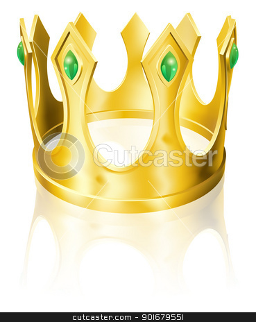 Gold crown illustration stock vector clipart, Illustration of a gold crown with green emeralds  by Christos Georghiou
